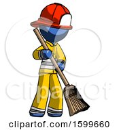 Blue Firefighter Fireman Man Sweeping Area With Broom