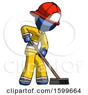 Blue Firefighter Fireman Man Cleaning Services Janitor Sweeping Side View