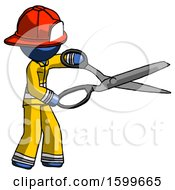 Blue Firefighter Fireman Man Holding Giant Scissors Cutting Out Something