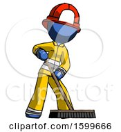 Blue Firefighter Fireman Man Cleaning Services Janitor Sweeping Floor With Push Broom