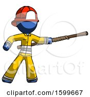 Blue Firefighter Fireman Man Bo Staff Pointing Right Kung Fu Pose