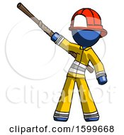 Blue Firefighter Fireman Man Bo Staff Pointing Up Pose