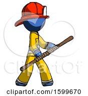 Blue Firefighter Fireman Man Holding Bo Staff In Sideways Defense Pose