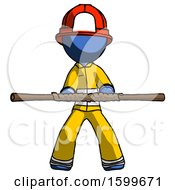 Blue Firefighter Fireman Man Bo Staff Kung Fu Defense Pose