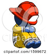 Blue Firefighter Fireman Man Sitting With Head Down Facing Angle Right