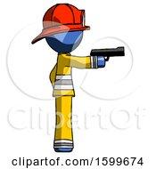 Blue Firefighter Fireman Man Firing A Handgun
