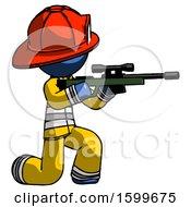 Blue Firefighter Fireman Man Kneeling Shooting Sniper Rifle