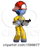 Blue Firefighter Fireman Man Tommy Gun Gangster Shooting Pose