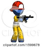 Blue Firefighter Fireman Man Shooting Automatic Assault Weapon