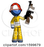 Blue Firefighter Fireman Man Holding Tommygun