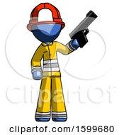 Blue Firefighter Fireman Man Holding Handgun