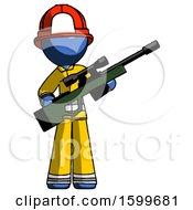 Blue Firefighter Fireman Man Holding Sniper Rifle Gun