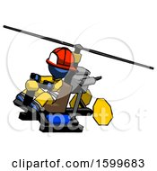 Blue Firefighter Fireman Man Flying In Gyrocopter Front Side Angle Top View