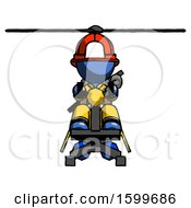 Blue Firefighter Fireman Man Flying In Gyrocopter Front View