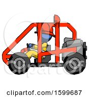 Blue Firefighter Fireman Man Riding Sports Buggy Side View