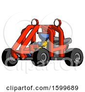 Poster, Art Print Of Blue Firefighter Fireman Man Riding Sports Buggy Side Angle View