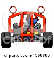 Poster, Art Print Of Blue Firefighter Fireman Man Riding Sports Buggy Front View