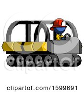 Poster, Art Print Of Blue Firefighter Fireman Man Driving Amphibious Tracked Vehicle Side Angle View
