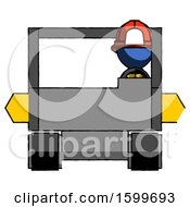 Poster, Art Print Of Blue Firefighter Fireman Man Driving Amphibious Tracked Vehicle Front View