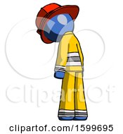 Blue Firefighter Fireman Man Depressed With Head Down Back To Viewer Left