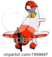 Blue Firefighter Fireman Man In Geebee Stunt Plane Descending Front Angle View