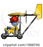 Blue Firefighter Fireman Man In Ultralight Aircraft Side View