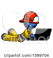 Blue Firefighter Fireman Man Using Laptop Computer While Lying On Floor Side Angled View