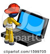 Blue Firefighter Fireman Man Using Large Laptop Computer