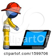 Blue Firefighter Fireman Man Using Large Laptop Computer Side Orthographic View