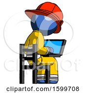 Blue Firefighter Fireman Man Using Laptop Computer While Sitting In Chair View From Back