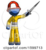 Blue Firefighter Fireman Man Holding Sword In The Air Victoriously