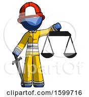 Blue Firefighter Fireman Man Justice Concept With Scales And Sword Justicia Derived