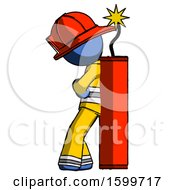 Blue Firefighter Fireman Man Leaning Against Dynimate Large Stick Ready To Blow