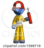 Blue Firefighter Fireman Man Holding Dynamite With Fuse Lit