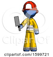Blue Firefighter Fireman Man Holding Meat Cleaver