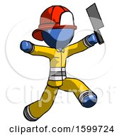 Blue Firefighter Fireman Man Psycho Running With Meat Cleaver
