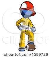 Blue Firefighter Fireman Man Standing With Foot On Football