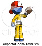 Blue Firefighter Fireman Man Holding Football Up