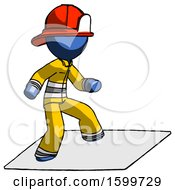 Blue Firefighter Fireman Man On Postage Envelope Surfing