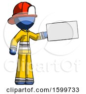 Blue Firefighter Fireman Man Holding Large Envelope