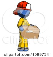 Blue Firefighter Fireman Man Holding Package To Send Or Recieve In Mail