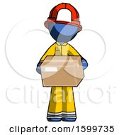 Blue Firefighter Fireman Man Holding Box Sent Or Arriving In Mail