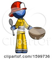 Blue Firefighter Fireman Man With Empty Bowl And Spoon Ready To Make Something