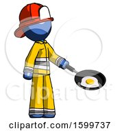Blue Firefighter Fireman Man Frying Egg In Pan Or Wok Facing Right