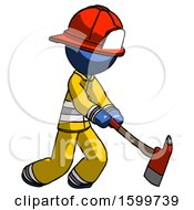 Blue Firefighter Fireman Man Striking With A Red Firefighters Ax