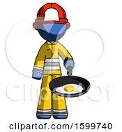 Blue Firefighter Fireman Man Frying Egg In Pan Or Wok