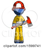 Blue Firefighter Fireman Man Holding Red Fire Fighters Ax