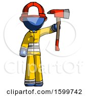 Blue Firefighter Fireman Man Holding Up Red Firefighters Ax