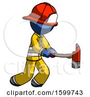 Blue Firefighter Fireman Man With Ax Hitting Striking Or Chopping
