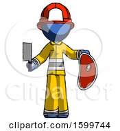 Blue Firefighter Fireman Man Holding Large Steak With Butcher Knife